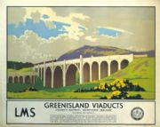 Greenisland Viaducts, Northern Ireland Travel Poster by LMS, London Midland and Scottish Railways. Norman Wilkinson